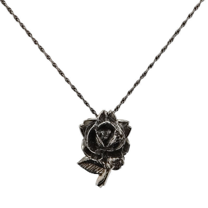 Black Stem Rose Necklace