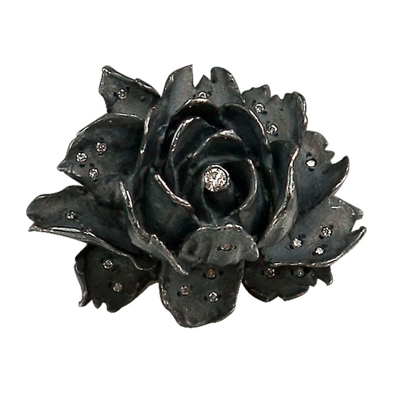 Giant Black Rose Ring